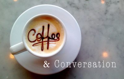 Coffee and Conversations aerial shot of an americano